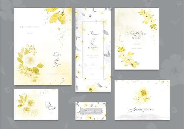Set di carta di invito matrimonio giallo illuminante e grigio finale con fiore rosa, foglie acquerello.