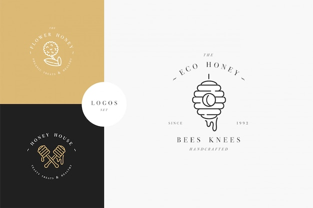 Imposta loghi illustartion e modelli o badge di design. etichette ed etichette del miele organico ed eco con le api. stile lineare e colore dorato.