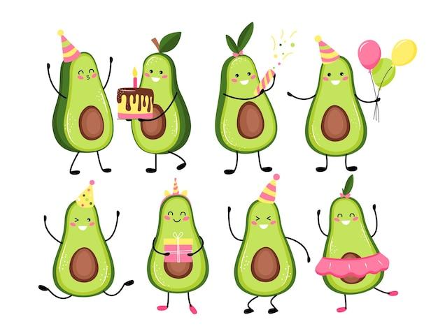 Impostare l'illustrazione del simpatico frutto di avocado o personaggio che celebra una vacanza, compleanno simpatico frutto di avocado kawaii. stile cartone animato piatto.