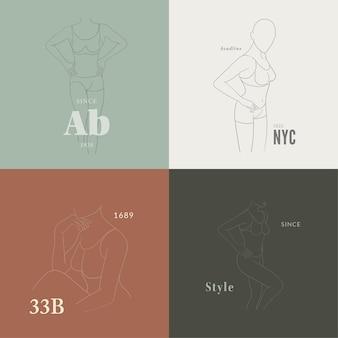 Set di illustrazione del corpo femminile in uno stile lineare alla moda. arte elegante.