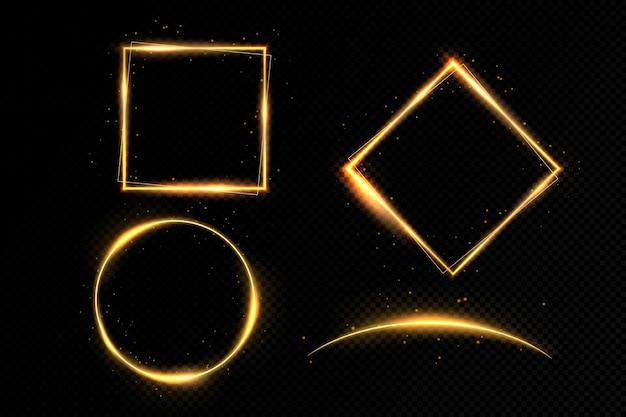 Impostare l'illustrazione di una cornice d'oro su uno sfondo trasparente.