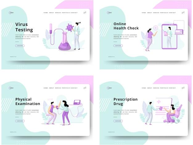 Set di illustrazione controllo dello stato, test sui virus dei concetti, controllo dello stato in linea, esame fisico, farmaco da prescrizione, utilizzabile per lo sviluppo di siti web