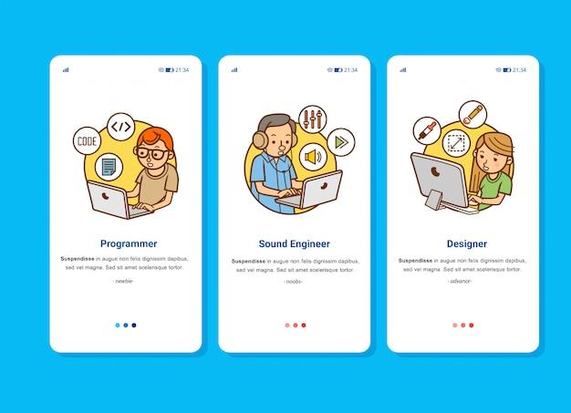 Impostare l'immagine dell'illustrazione del team di sviluppatori di giochi o animazioni, composto da programmatore, tecnico del suono e designer