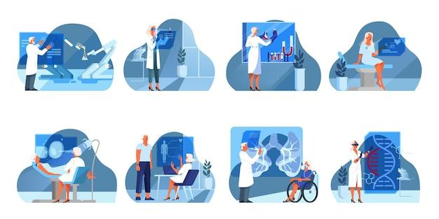 Set di illustrazione dell'assistenza sanitaria innovativa. concetto di trattamento della medicina moderna, competenza, diagnostica. ambiente virtuale in ospedale. un'idea di innovazione clinica