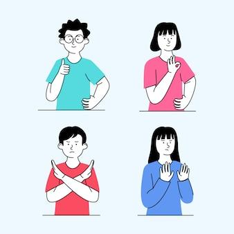 Metta il gesto dei bambini dell'illustrazione ok d'accordo e rifiuta il concetto