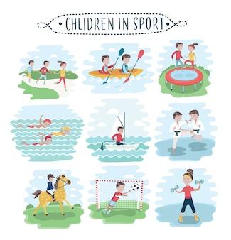Set di illustrazione di bambini che praticano vari sport su bianco