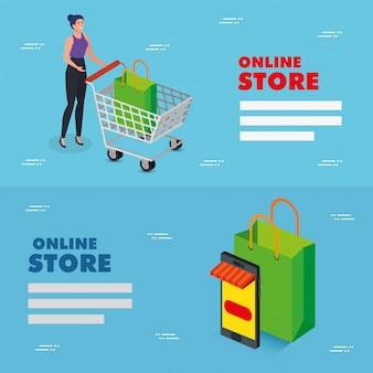 Metta la progettazione online dell'illustrazione di vettore del deposito dell'illustrazione