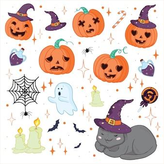 Impostare l'illustrazione di eccentrico divertente retrò halloween