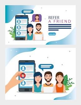 Impostare l'illustrazione di riferire un amico