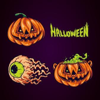 Set illustrazione spooky pumpkin face festa di halloween
