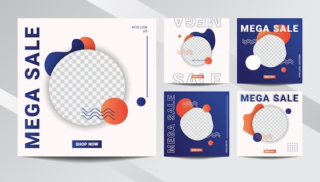 Set di illustrazione grafica vettoriale della raccolta di modelli di post vendita di social media con design moderno