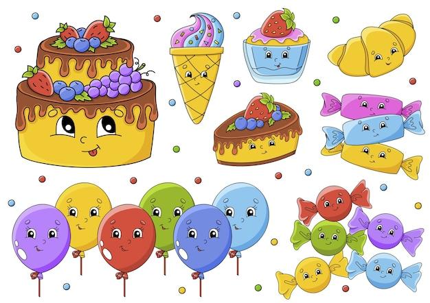 Set di illustrazione con simpatici personaggi dei cartoni animati. tema di buon compleanno. disegnato a mano.