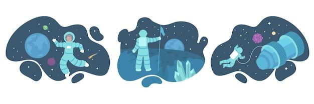 Serie di illustrazioni di astronauti nello spazio esterno