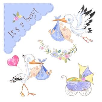 Serie di illustrazioni per la nascita di un ragazzo. cicogna con bambino. baby shower