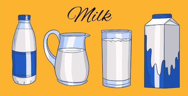 Serie di illustrazioni in stile cartone animato di bottiglie di vetro con latte.
