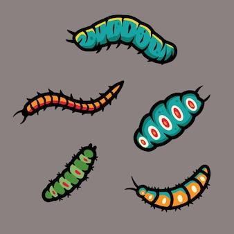 Set di illustrazioni di vermi bruco e vermi per il design di halloween larve di insetti spaventose