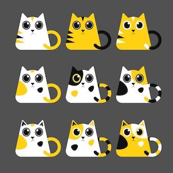 Serie di illustrazioni di simpatici gattini