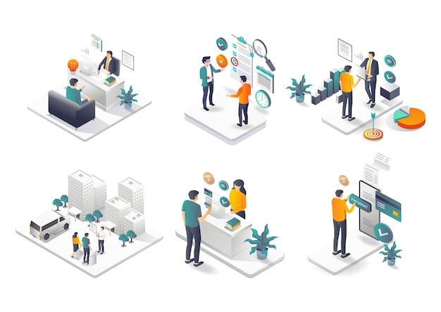 Una serie di illustrazioni per gli investimenti aziendali nell'e-commerce