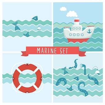 Serie di illustrazioni di battuta di pesca