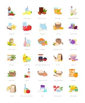 Serie di illustrazioni di additivi alimentari