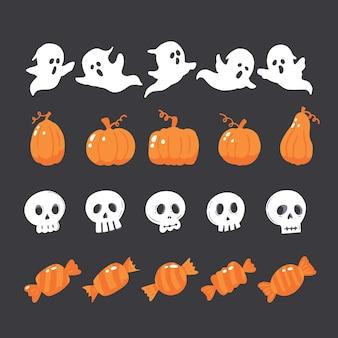 Serie di illustrazioni per halloween con fantasmi, caramelle, zucche e scull