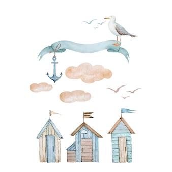 Serie di illustrazioni in stile marino case sulla spiaggia e banner per testo vettore acquerello