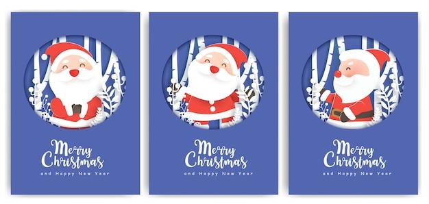 Set di illustrazioni e biglietti di auguri di capodanno con un simpatico babbo natale nel villaggio di neve.