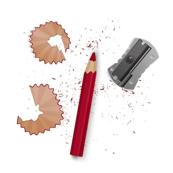 Serie di illustrazioni in stile realistico affilato matita un temperamatite, trucioli di matita e una grafite isolata