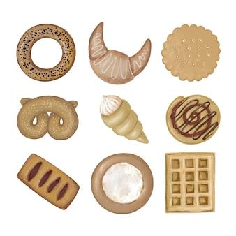 Serie di illustrazioni di pasticceria dolce