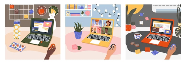 Una serie di illustrazioni sul tema delle conferenze di lavoro online e dell'area di lavoro della comunicazione online