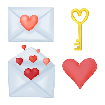 Serie di illustrazioni per san valentino, lettere, lucchetto e chiave, cuori