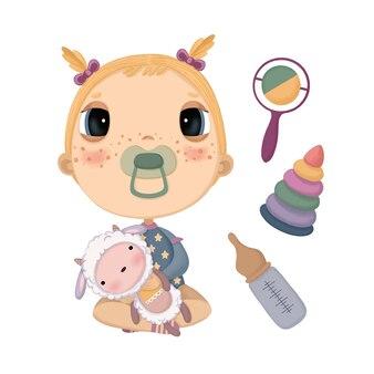 Una serie di illustrazioni con un bambino che tiene un agnello ripieno e giocattoli