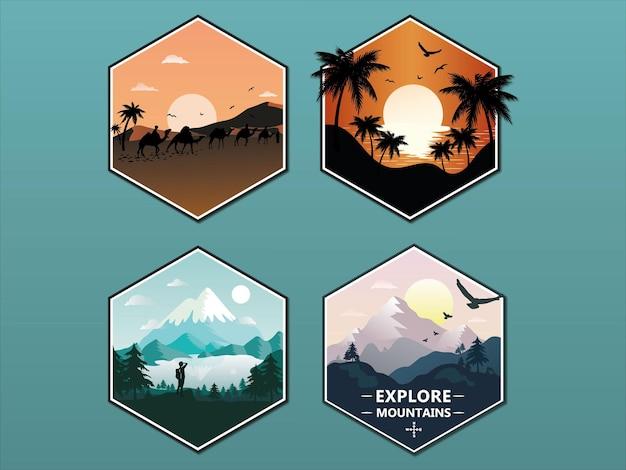 Serie di illustrazioni con deserti e montagne cornice esagonale