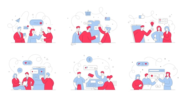 Serie di illustrazioni con assistenti online che comunicano con clienti maschi e femmine durante lo shopping online su siti web e social media. illustrazione di stile, arte al tratto sottile