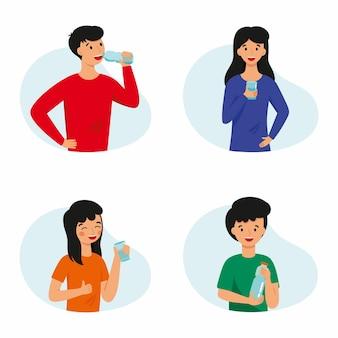 Una serie di illustrazioni con persone che bevono acqua. la famiglia pratica abitudini sane.
