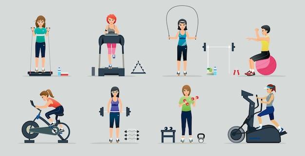 Serie di illustrazioni con donne che utilizzano una macchina per esercizi