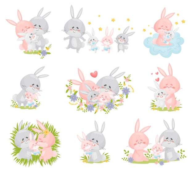 Set di immagini di una famiglia di conigli