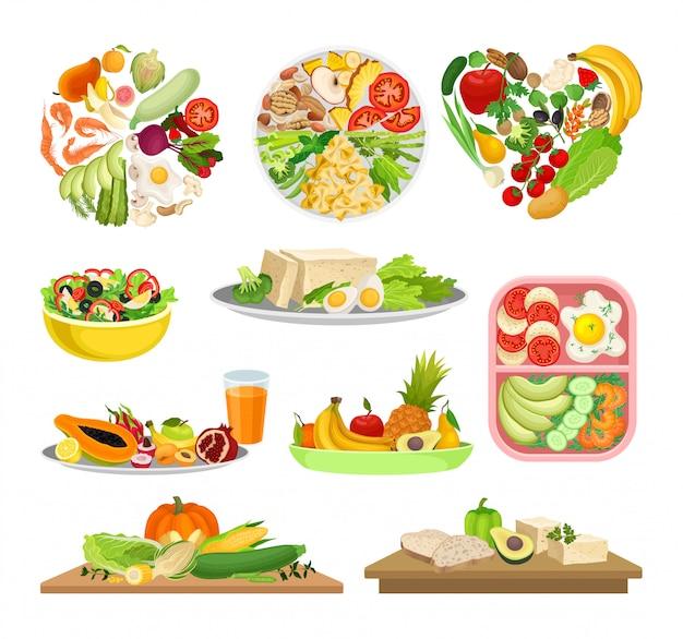 Set di immagini di una varietà di cibo con verdure.
