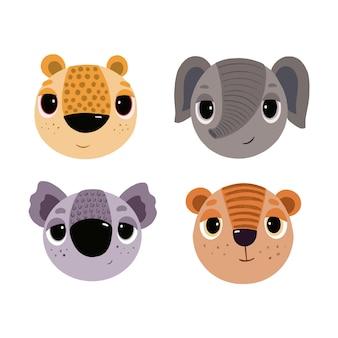 Set di immagini con animali leopardo, elefante, koala e tigre