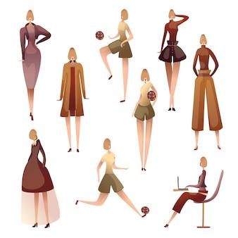 Set di immagini di donne in varie pose. illustrazione su sfondo bianco.