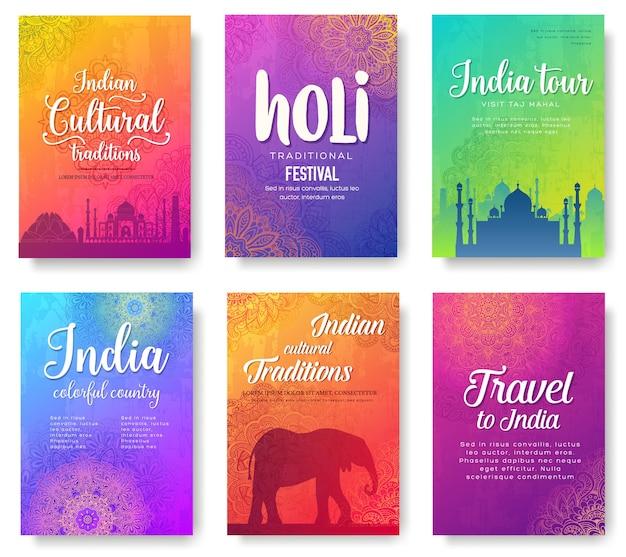 Set di ornamento paese indiano. arte tradizionale, poster, poster, astratto, motivi ottomani, elemento.