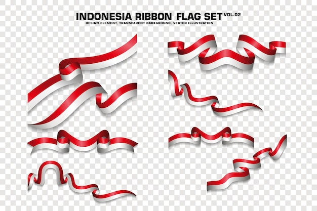 Set di bandiera indonesia ribbon, elemento di design. 3d su uno sfondo trasparente. illustrazione vettoriale