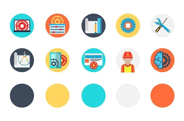 Set di icone e costruzioni industriali