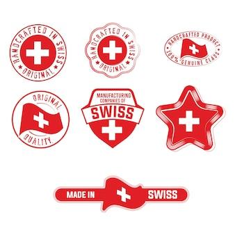 Set di etichette industriali con adesivi per prodotti con bandiera svizzera