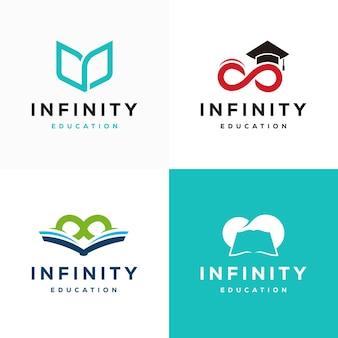 Set di infinity education logo progetta concetto vettoriale, loop e book education logo design symbol