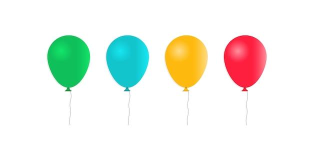 Set di palloncini gonfiabili in stile cartone animato isolato su bianco
