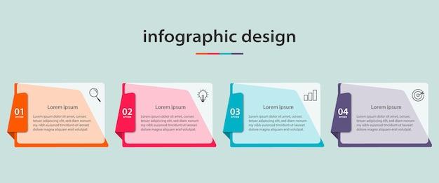 Set di design infografico isolato su blu