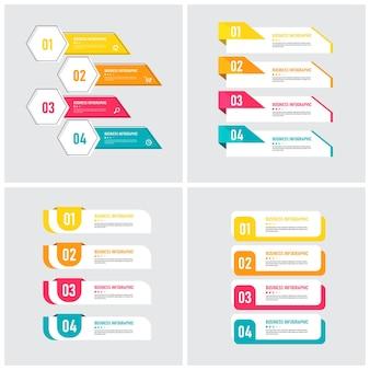 Set di modello di elemento infografica Vettore Premium