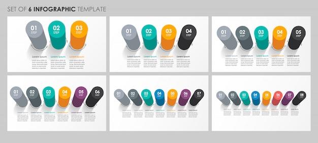 Set di progettazione di etichette infografiche con 3, 4, 5, 6, 7, 8 opzioni o passaggi. concetto di affari.