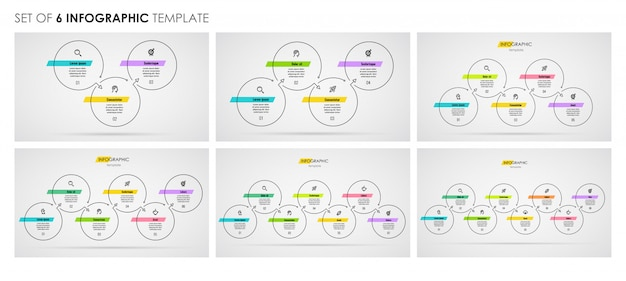 Set di design infografico linea sottile con icone e 3 o 4, 5, 6, 7, 8 opzioni o passaggi. concetto di affari.